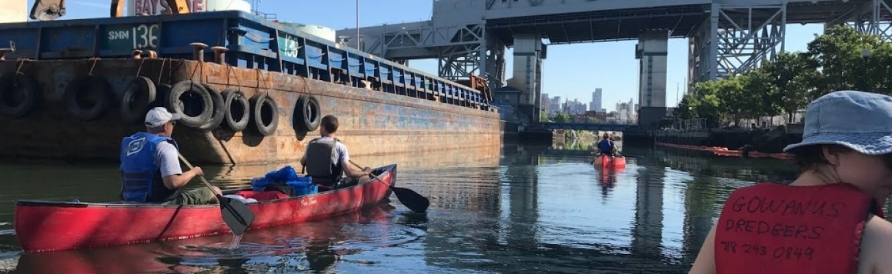 Canoeing Gowanus near 9th St. Bridge