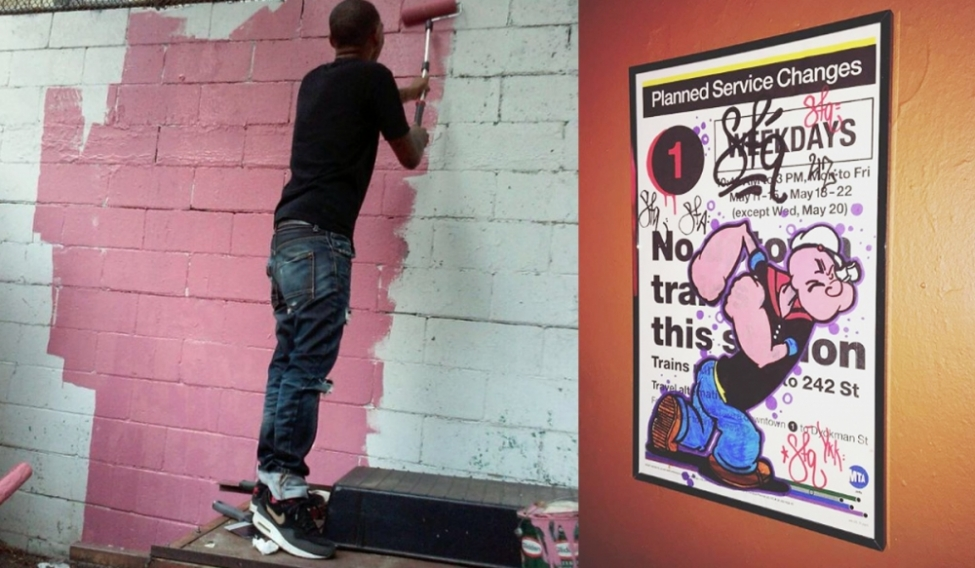 (Left) Simon Aredondo working on a mural. (Right) from a series of works on subway posters by Simon Aredondo